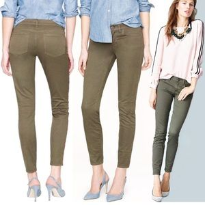 J. Crew Camo Green Toothpick Ankle Jeans